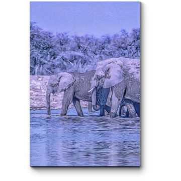Африканские слоны на водопое