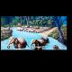 Семья слонов переправляется через реку
