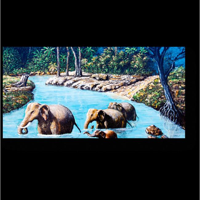 Модульная картина Семья слонов переправляется через реку