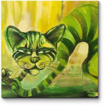 Зеленый полосатый кот