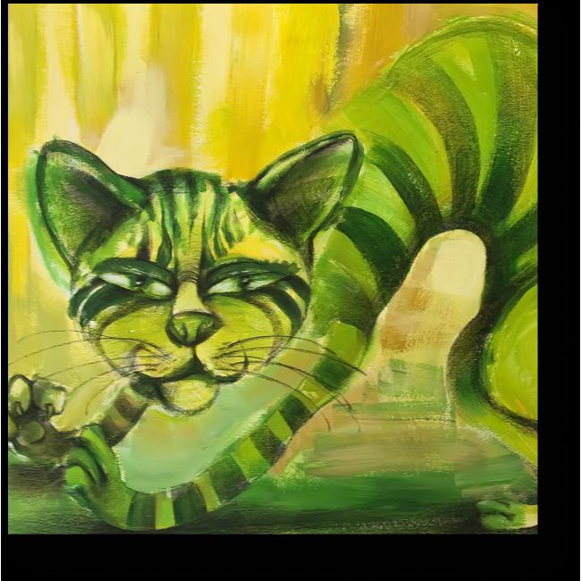 Модульная картина Зеленый полосатый кот