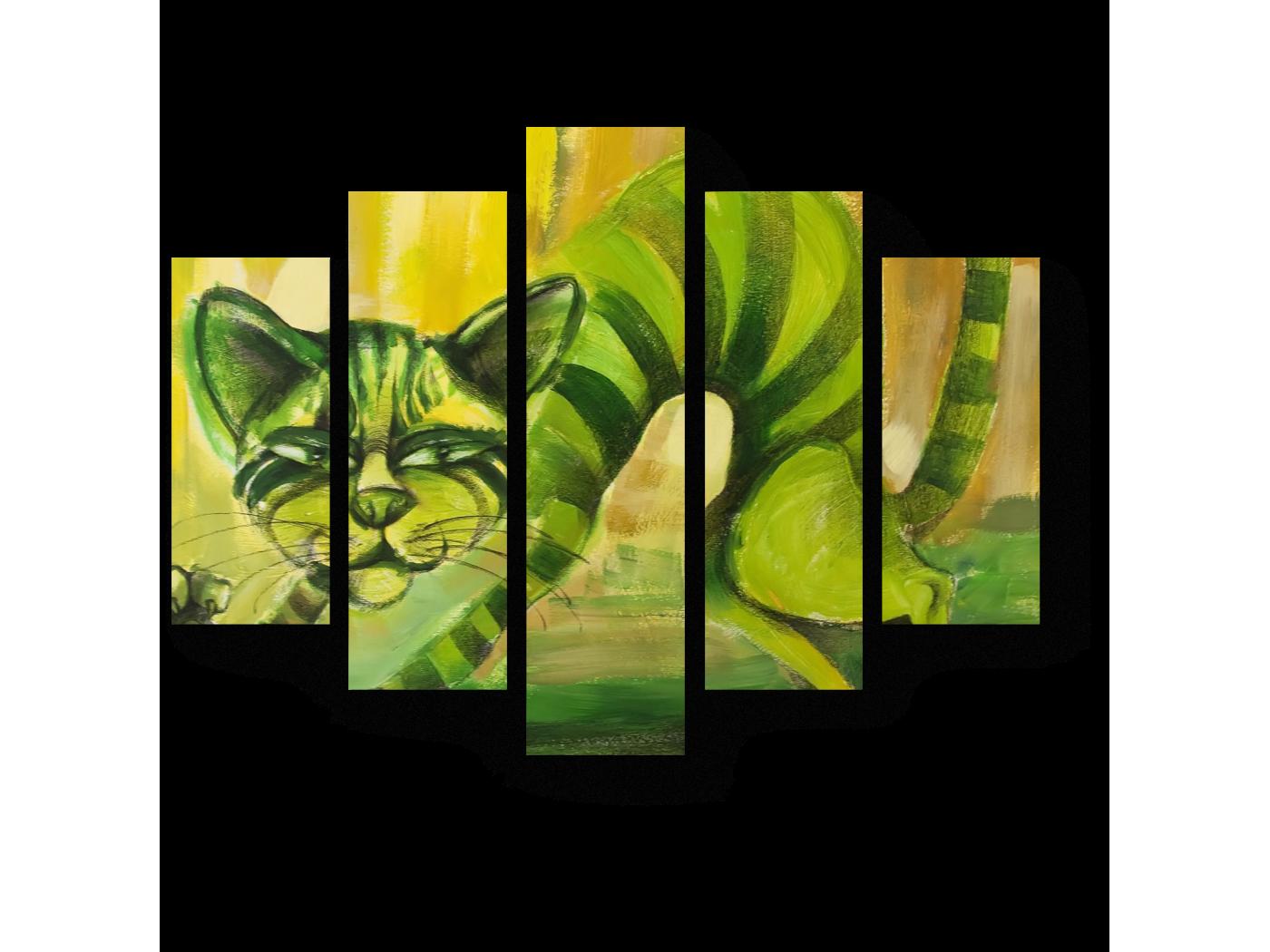 Модульная картина Зеленый полосатый кот (75x60) фото