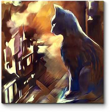 Кот на крыше лунной ночью