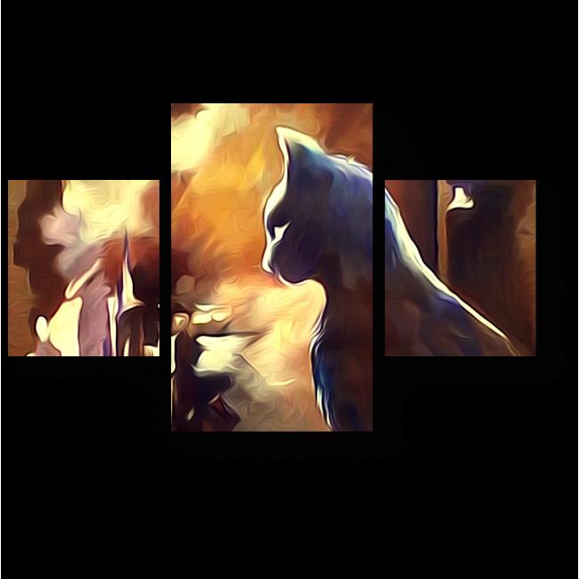 Модульная картина Кот на крыше лунной ночью