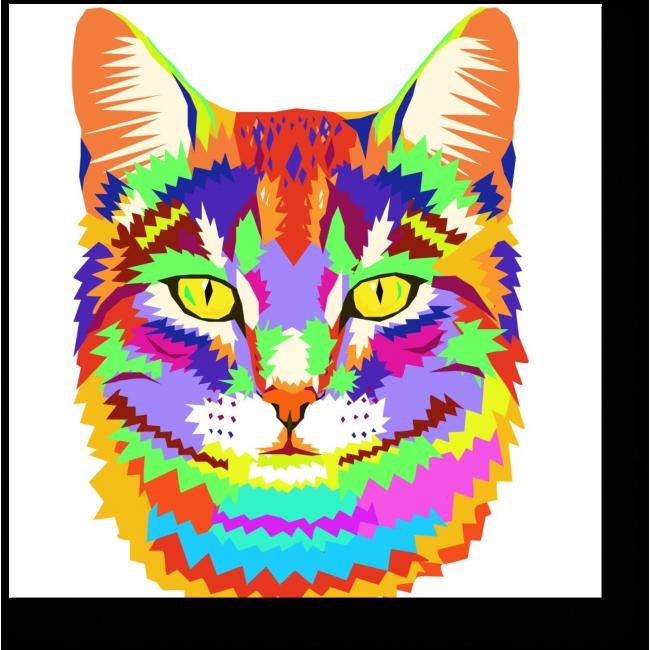 Модульная картина Портрет радужного кота