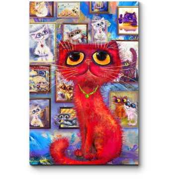 Красный кот гуляет по галерее