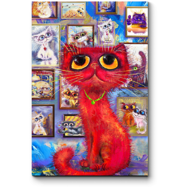 Модульная картина Красный кот гуляет по галерее