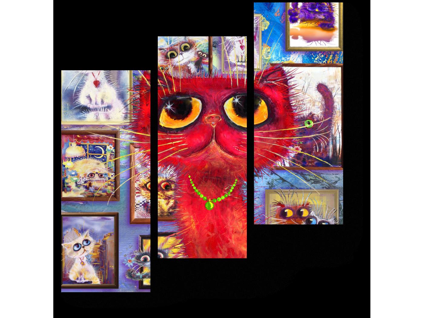 Модульная картина Красный кот гуляет по галерее (60x64) фото