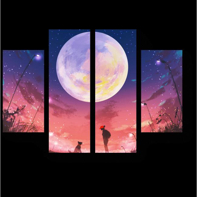 Модульная картина Ночная прогулка под звездным небом