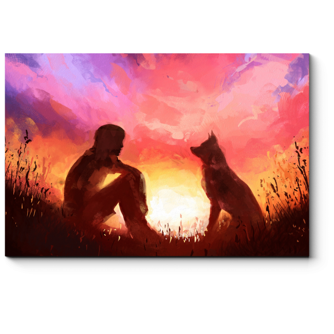 Модульная картина Встречаем закат с верным другом