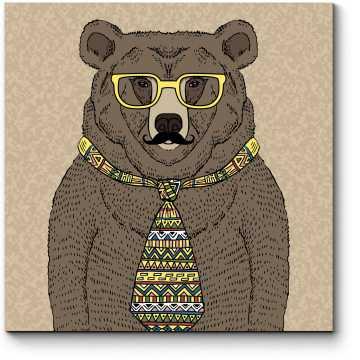 Мишка-хипстер в очках и с усами