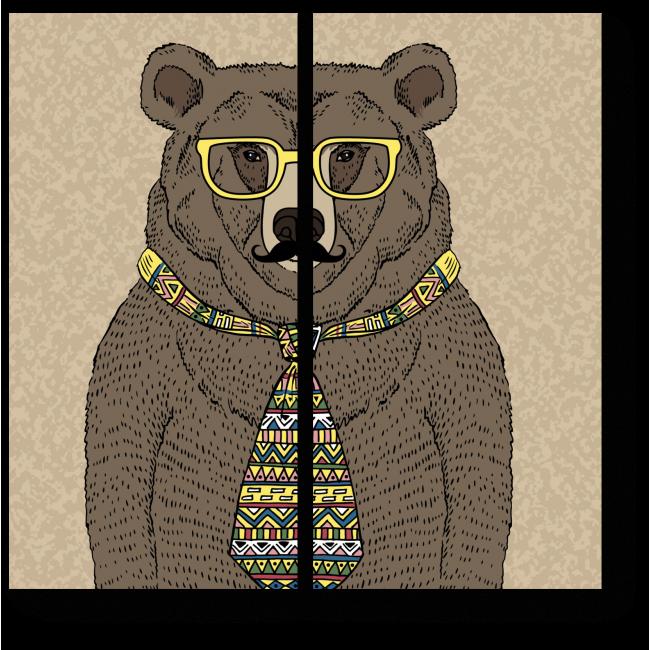 Модульная картина Мишка-хипстер в очках и с усами
