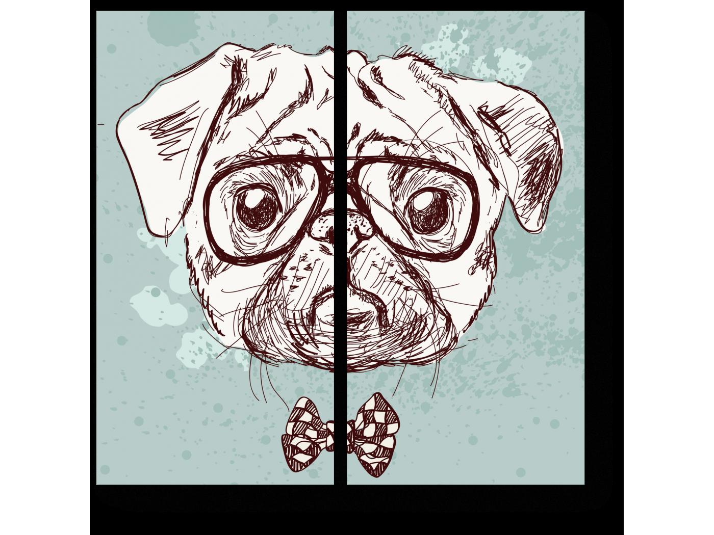 Модульная картина Винтажный мопс в бабочке и очках (40x40) фото