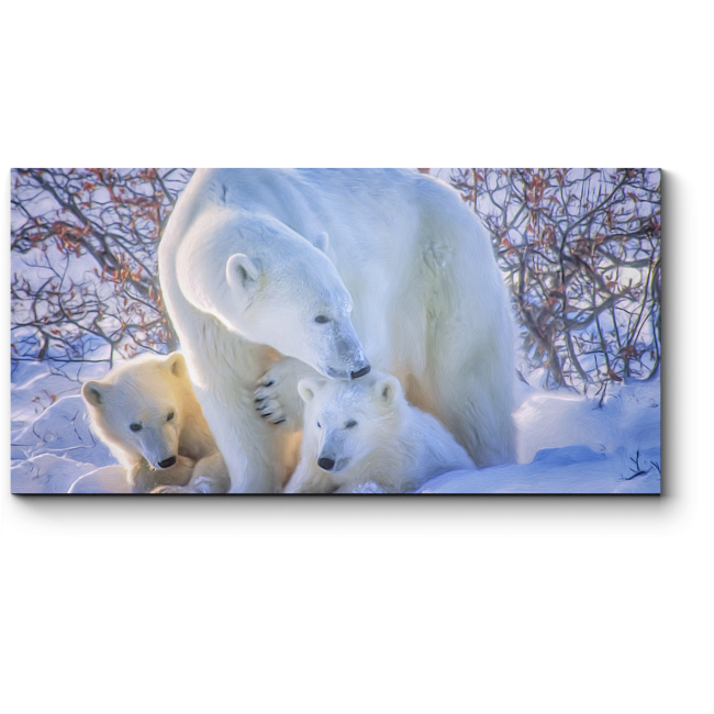 Модульная картина Семейная прогулка полярных медведей