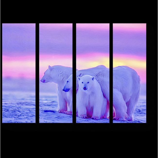 Модульная картина Артические мишки на закате