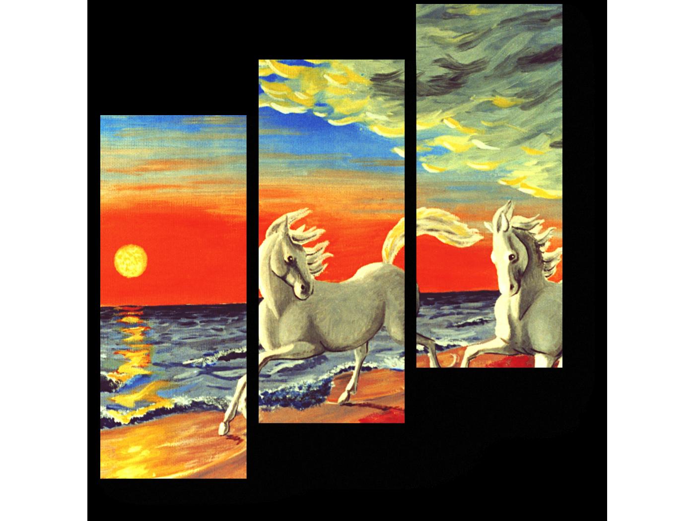 Модульная картина Бегущие по пляжу (60x64) фото