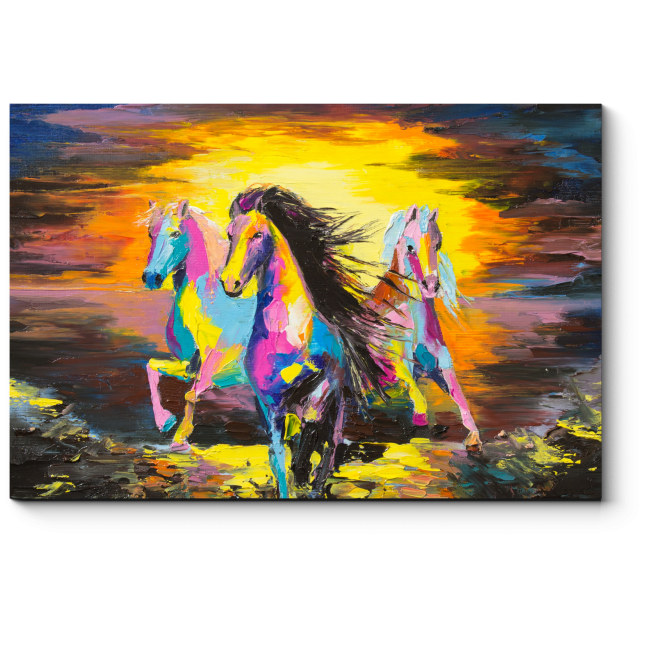 Модульная картина Радужные кони на песке