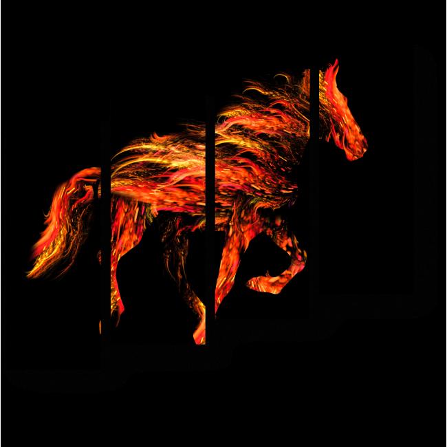 Модульная картина Мчит без устали огненный жеребец