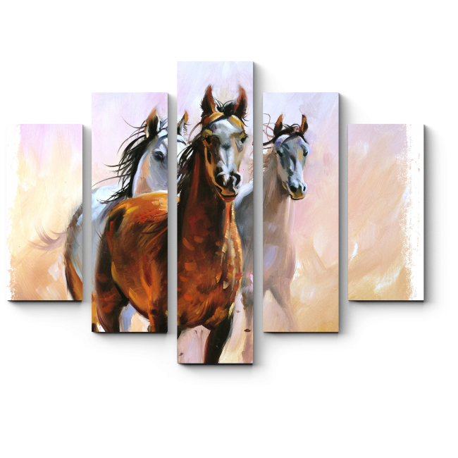 Модульная картина Трио бегущих по пустыне