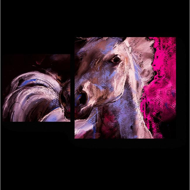 Модульная картина Портрет белой лошади