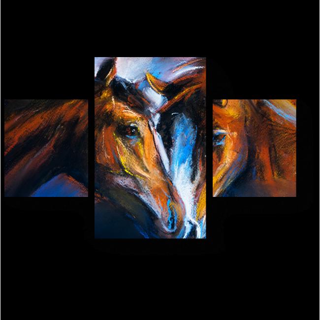 Модульная картина Влюбленные лошади