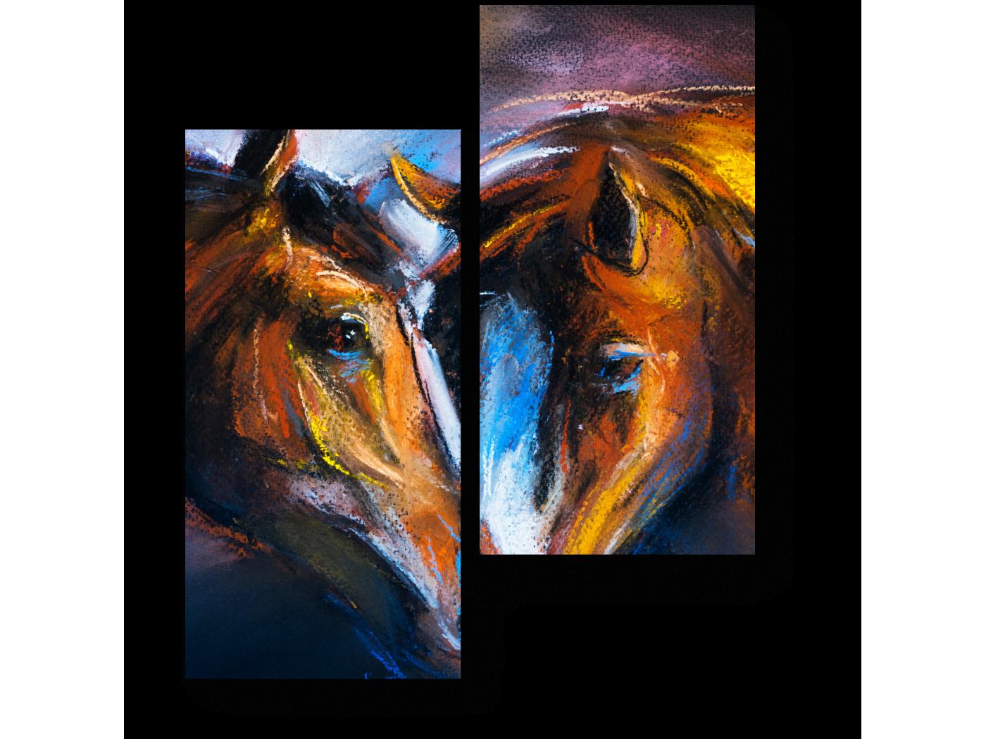 Модульная картина Влюбленные лошади (40x50) фото