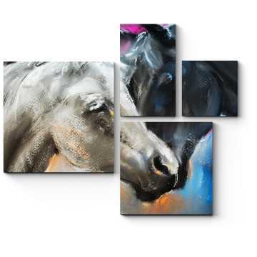Модульная картина Влюбленная пара лошадей