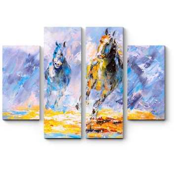 Бегущие лошади, масло