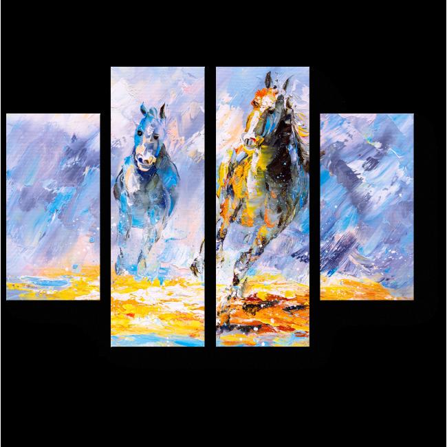 Модульная картина Бегущие лошади, масло