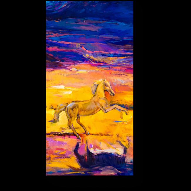 Модульная картина Одинокий жеребец, масло