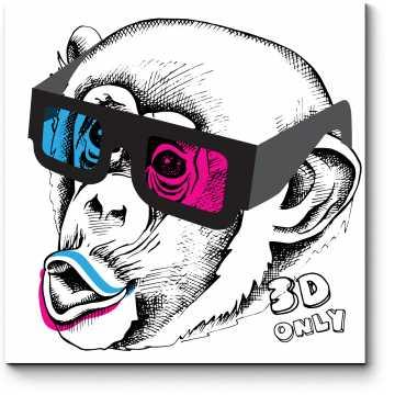 Модульная картина Обезьяны тоже любят кино в 3D