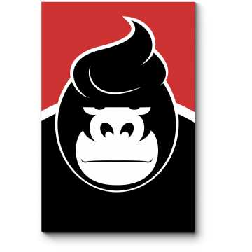 Модульная картина Невероятно серьезная горилла со стильной укладкой