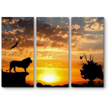 Модульная картина Могучий лев на закате в горах