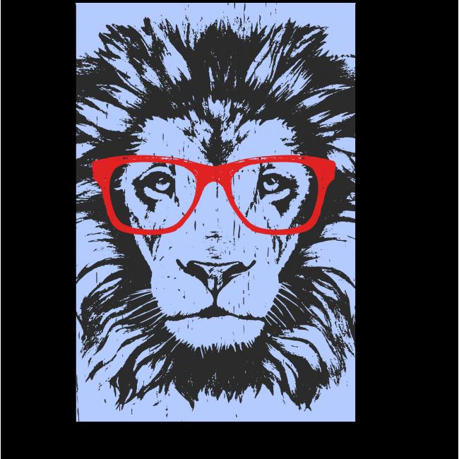 Модульная картина Лев-хипстер в красных очках