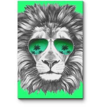 Арт-лев в зеленых авиаторах