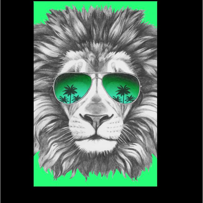 Модульная картина Арт-лев в зеленых авиаторах