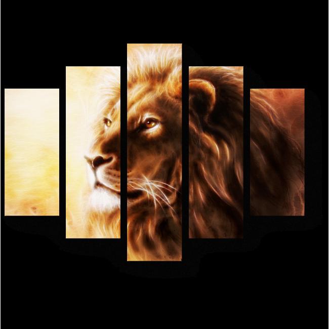 Модульная картина Великий и могучий лев