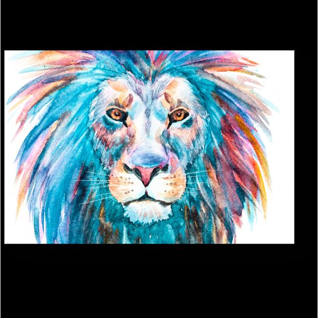 Модульная картина Радужный лев, акварель
