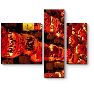 Модульная картина Теплый свет китайских фонариков
