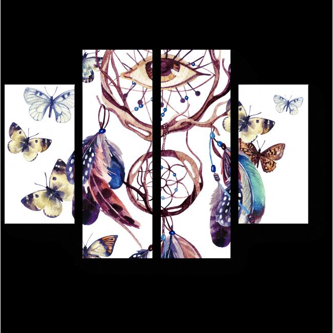 Модульная картина Ловец снов в окружении порхающих бабочек