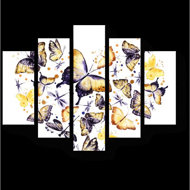 Модульная картина Винтажные бабочки