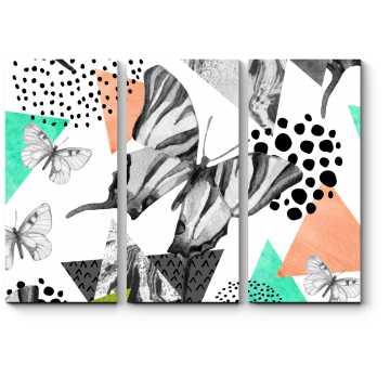 Модульная картина Геометрическая композиция с бабочками