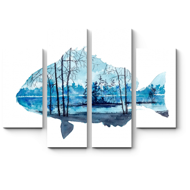 Модульная картина Внутренний мир рыбы