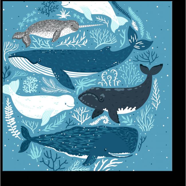 Модульная картина Веселые морские обитатели
