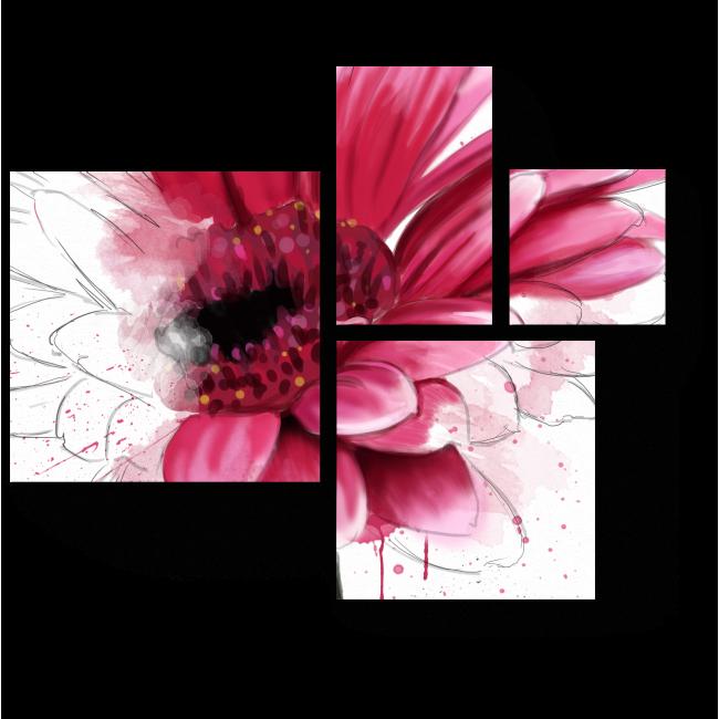 Модульная картина Пунцовая гербера