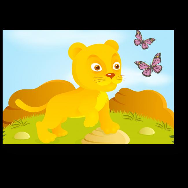 Модульная картина Львенок играет с бабочками
