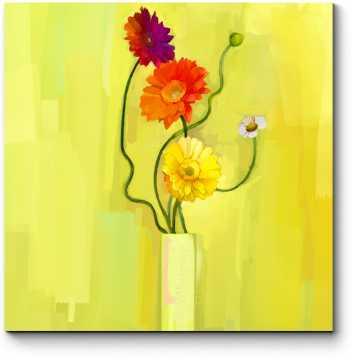 Модульная картина Разноцветные герберы
