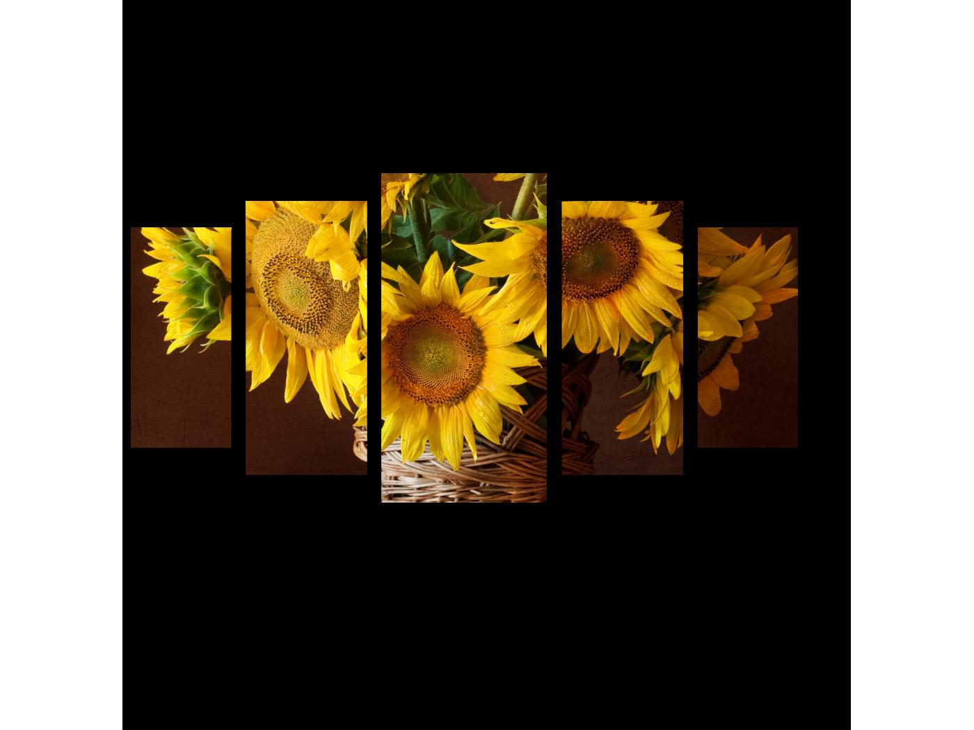 Модульная картина Солнечные цветы (100x55) фото