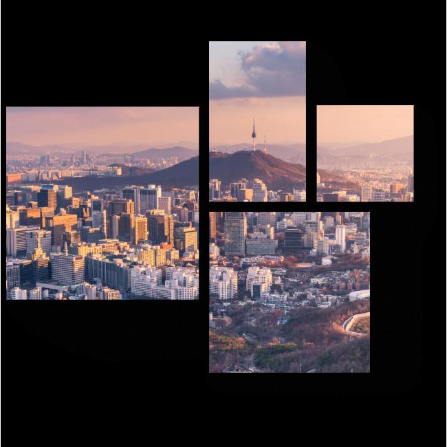Модульная картина Сеул с высоты птичьего полета