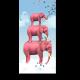 Три розовых слона на облаке
